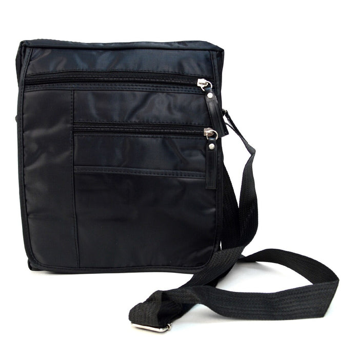 Black messenger bag accessory pouch with adjustable strap