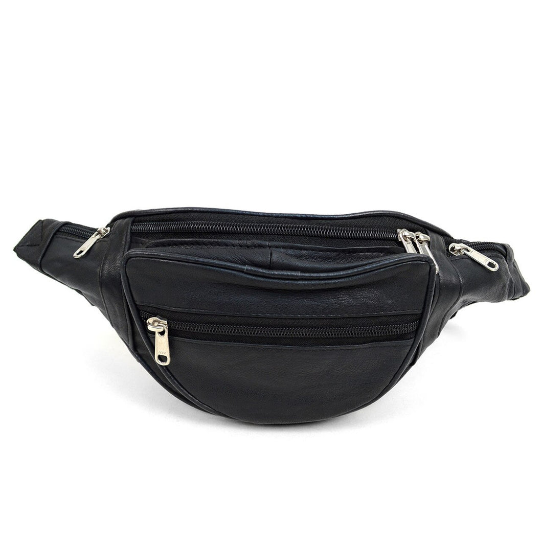 multi compartment black fanny pack