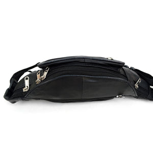 top zipper pocket of black fanny pack