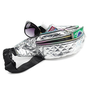 Quilted metallic silver fanny pack