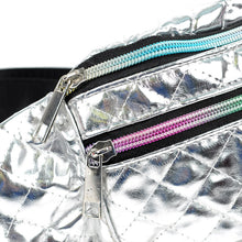 Load image into Gallery viewer, Quilted metallic silver fanny pack