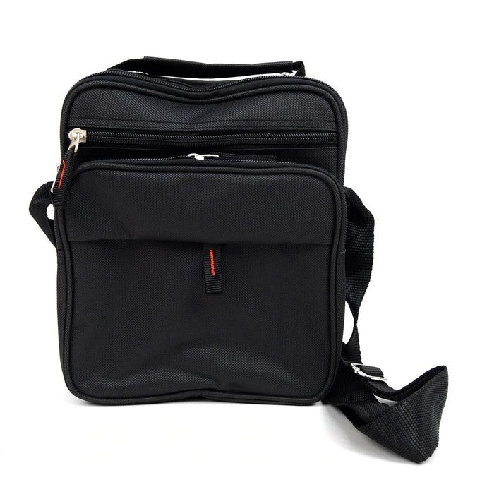 Black men's messenger bag with adjustable strap
