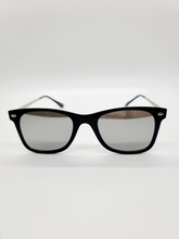 Load image into Gallery viewer, silver reflective lens black frame wire arm sunglasses