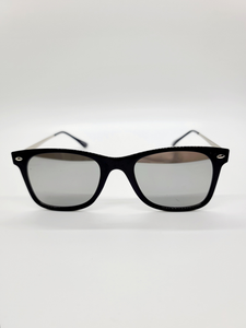 silver reflective lens black frame wire arm sunglasses