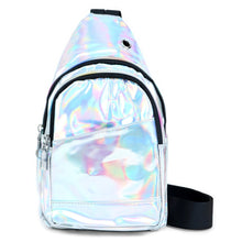Load image into Gallery viewer, iridescent silver cross body sling bag