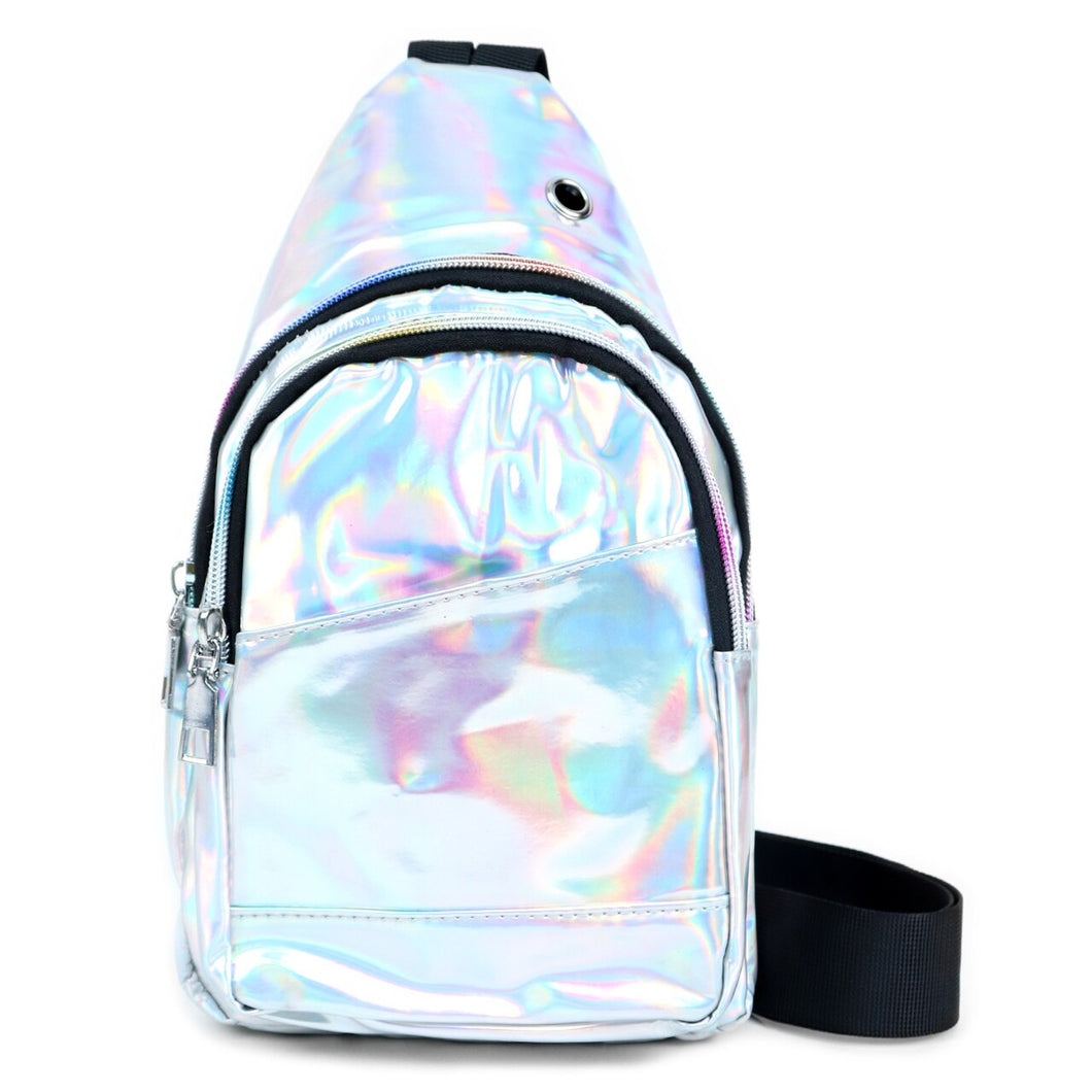 iridescent silver cross body sling bag