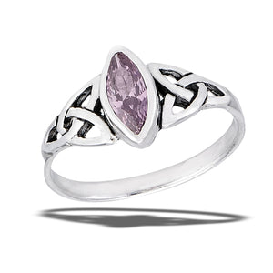 Sterling silver ring with pink cubic zirconia stone