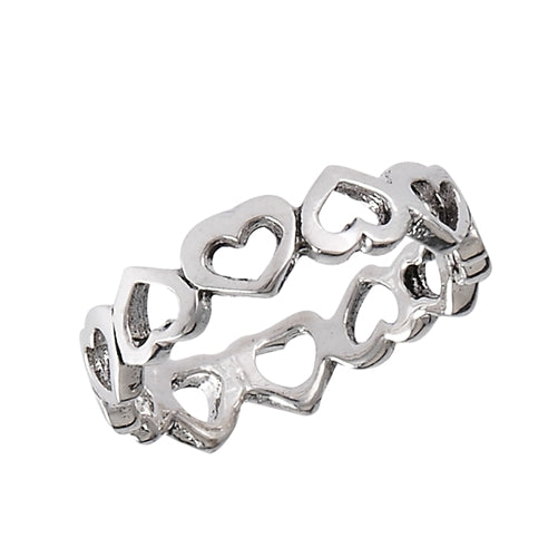 Sterling silver heart cut out shape ring