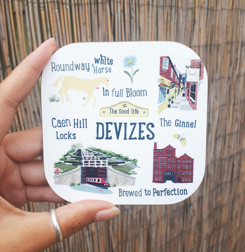 Devizes The good life drinks mat coaster caen hill canal locks, wadworth brewery, the ginnel and roundway white horse illustration from beezes