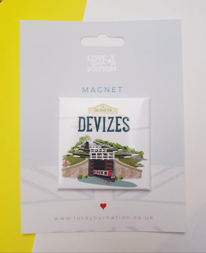 Devizes The good life caen hill canal boat locks fridge magnet from beezes