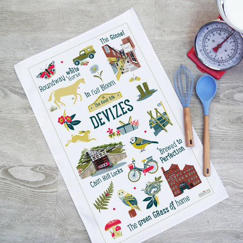 Devizes the good life cotton tea towel washing & drying up - Caen hill canal locks, rounway white horse, the Ginnel, Wadworth brewery illustrations