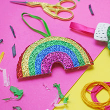 Load image into Gallery viewer, Glitter Rainbow Mini Decoration Felt Sewing Kit