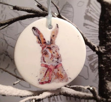 Load image into Gallery viewer, Winter Hare Ceramic Disc Christmas Decoration
