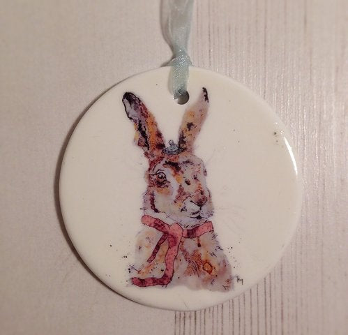 Winter Hare Ceramic Disc Christmas Decoration