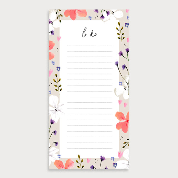 Coral Florals List Notepad