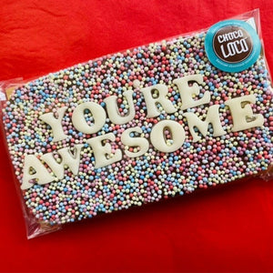 You're Awesome Rainbow Sprinkle Chocolate Slab