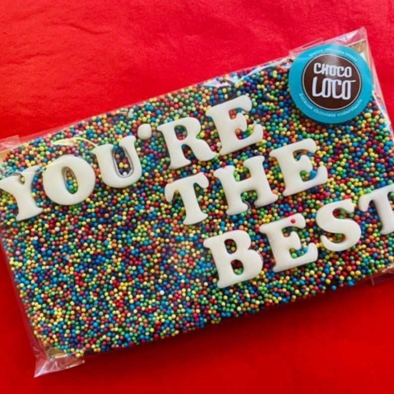 You're The Best Rainbow Sprinkle Chocolate Slab