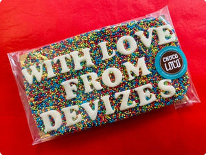 'With Love From Devizes' Rainbow Sprinkle Chocolate Slab