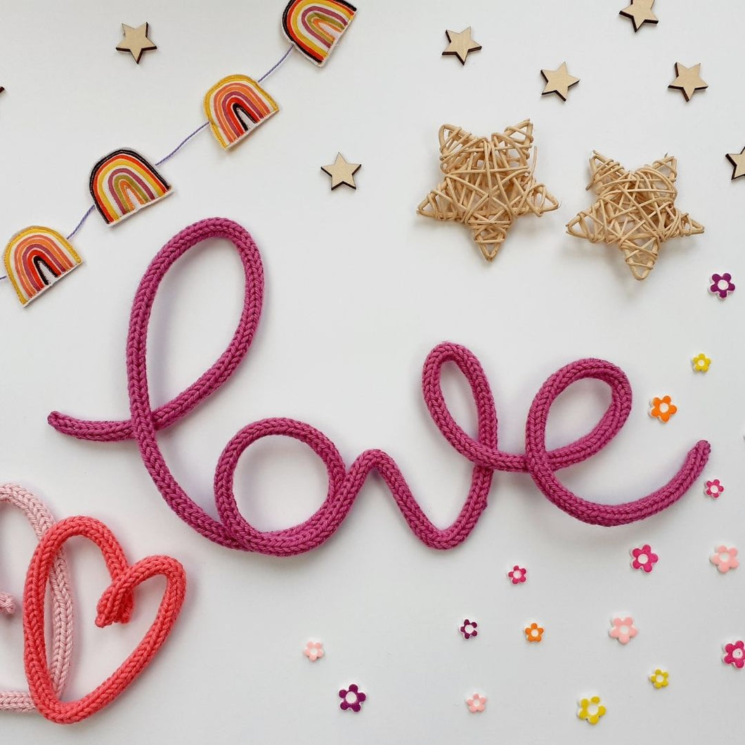 'Love' Knitted Wire Decoration