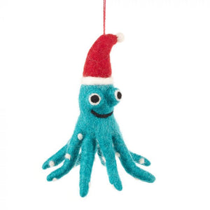 Christmas Octopus Hanging Felt Decoration