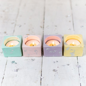 Pastel & Silver Leaf Jesmonite Tealight Holders - Set of 4