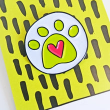 Load image into Gallery viewer, Angela Chick yellow and pink heart paw print enamel pin badge from Beezes close up