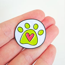 Load image into Gallery viewer, Angela Chick yellow and pink heart paw print enamel pin badge from Beezes