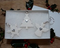 Set of Mixed Ceramic Christmas Decorations - Colour Options available