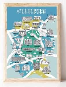 Wiltshire Illustrated Map Art Print