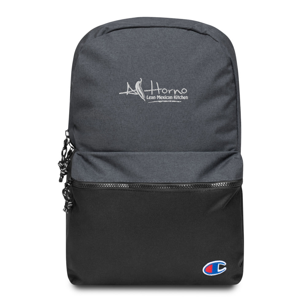 Embroidered Champion Backpack (White)