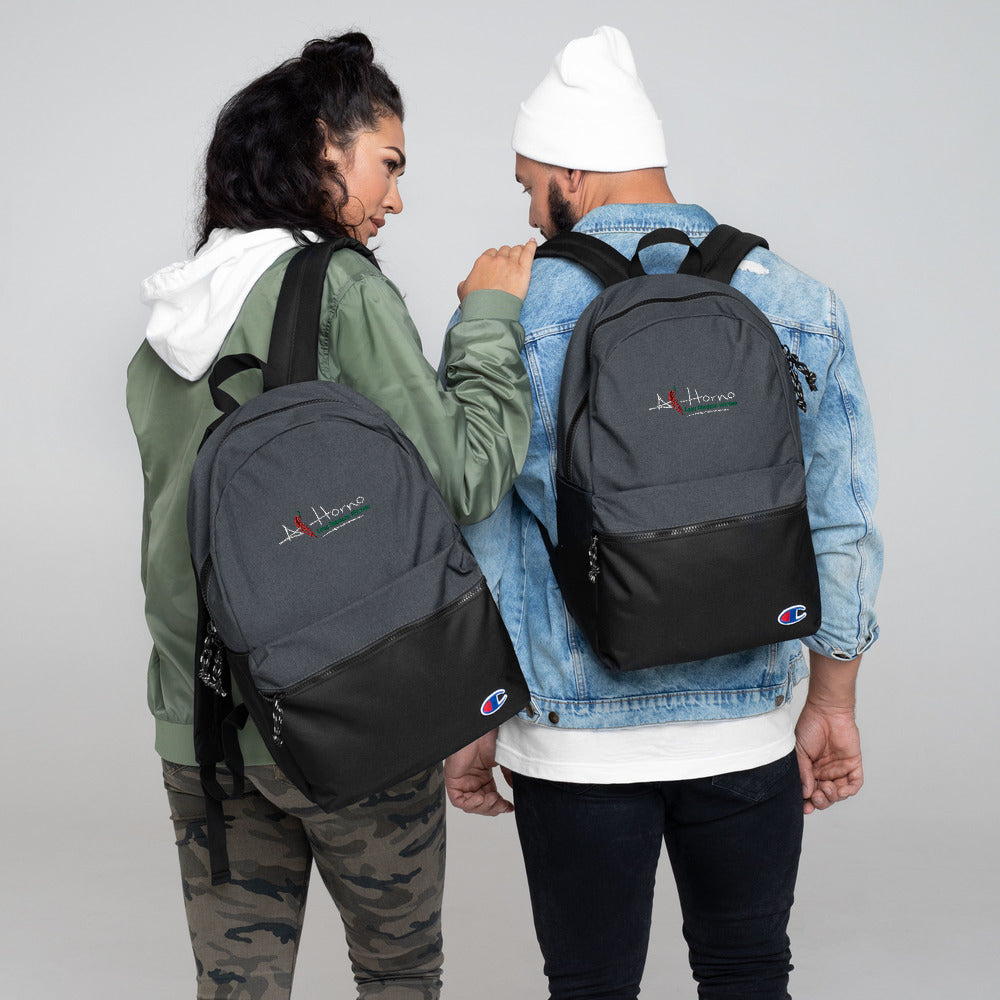 Embroidered Champion Backpack (White w Colors)