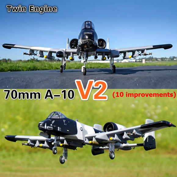 FMS 70mm Ducted Fan EDF Jet A-10 A10 V2 Twin Engine with Gyro 6CH 6S EPO PNP RC Airplane Model Hobby Plane Aircraft Avion EPO