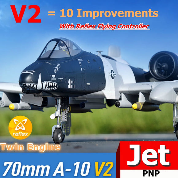 FMS RC Airplane 70mm A-10 A10 Warthog V2 Ducted Fan EDF Jet Twin Engine with Gyro Retracts 6S PNP Model Hobby Plane Aircraft EPO