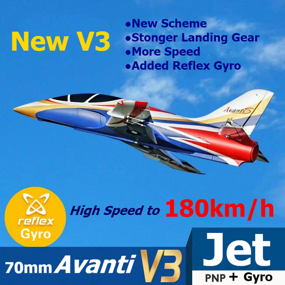 FMS RC Airplane Avanti V3 Blue 70mm Ducted Fan EDF Jet High speed Big Scale Model Plane Aircraft Avion PNP 6S with Retract Flaps