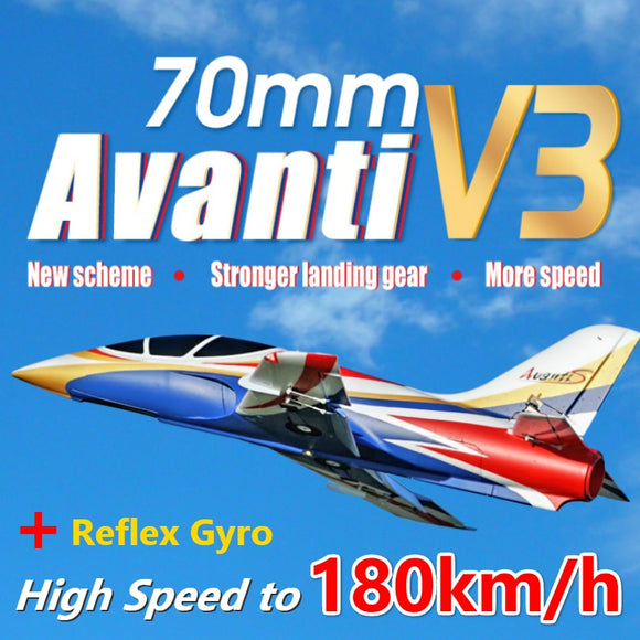 FMS 70mm Ducted Fan EDF Jet Avanti V3 High Speed Racing 6CH with Flaps Retracts PNP RC Airplane Sport Model Plane Aircraft Avion