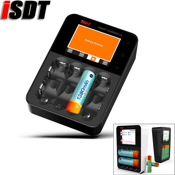 Original ISDT C4 8A Touch Screen Smart Battery Charger Screen With USB Output For 18650 26650 AA AAA Battery For RC Mode