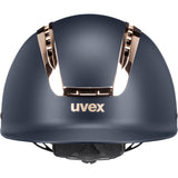 Matt Navy Coral Uvex Suxxeed Chrome Riding Helmet Front view