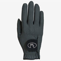Anthracite Lisboa glove with  sparkling Swarovski Crystal backhand detail