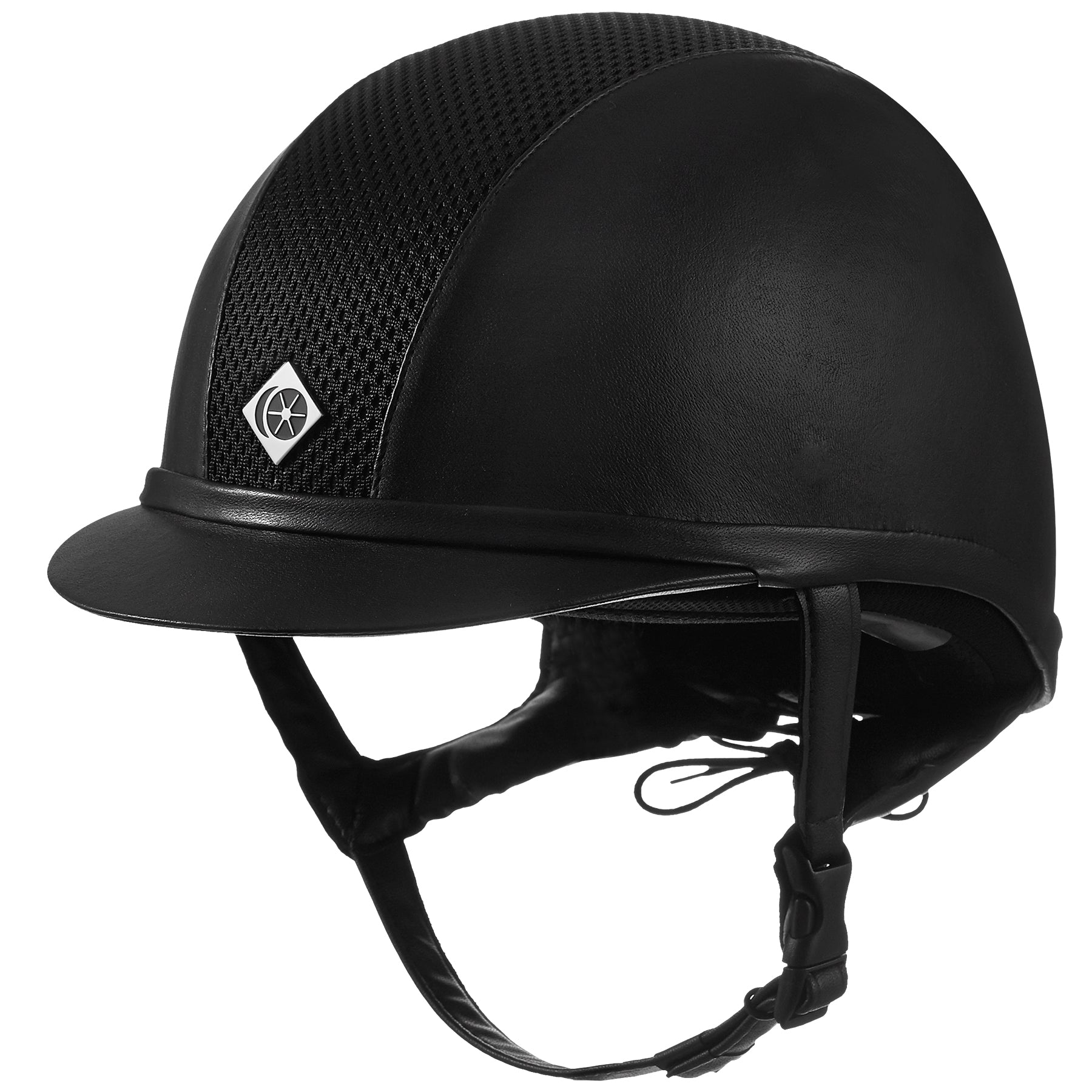 Fair Price Equestrian | Charles Owen Ayr8 Plus Leather Look Round Fit Sizes Riding Helmet