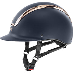 Matt Navy Coral Uvex Suxxeed Chrome Riding Helmet side view