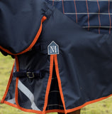 Navy Orange Beige Plaid Mark Todd Mediumweight Turnout Rug MT Detailing