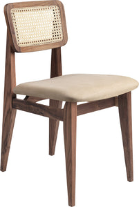 C-Chair Dining Chair - Seat Upholstered, French Cane back