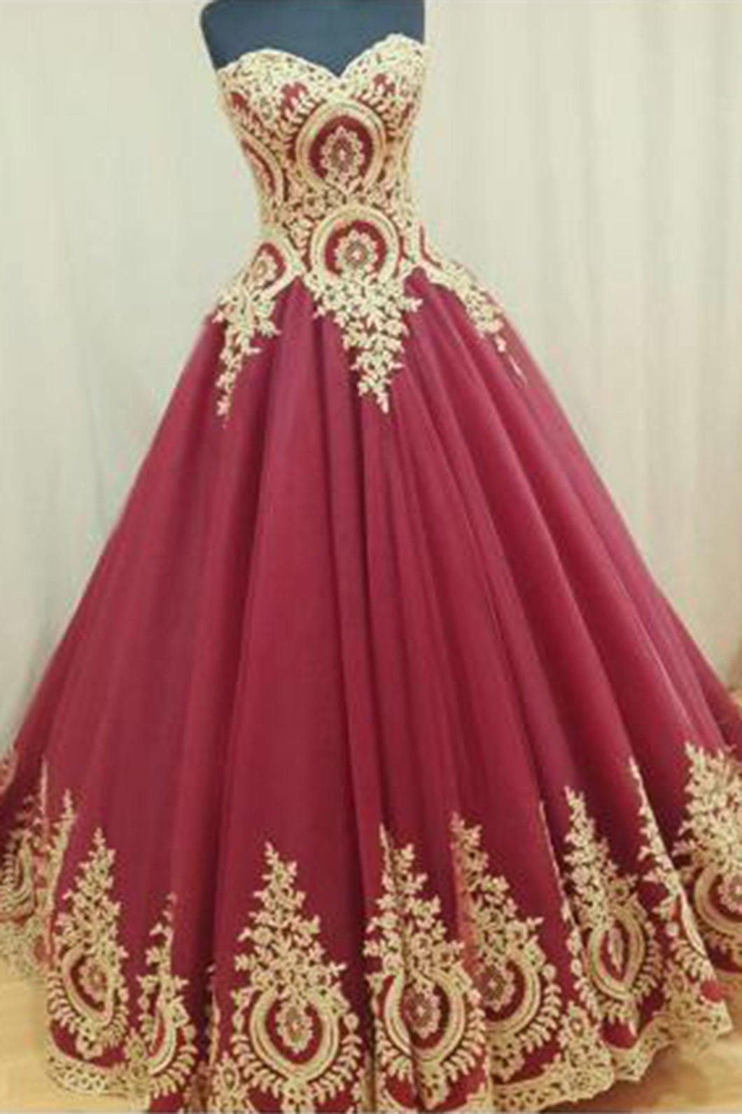 Sweet 16 Dresses | Red organza golden lace applique sweetheart A-line long dresses,floor-length dresses