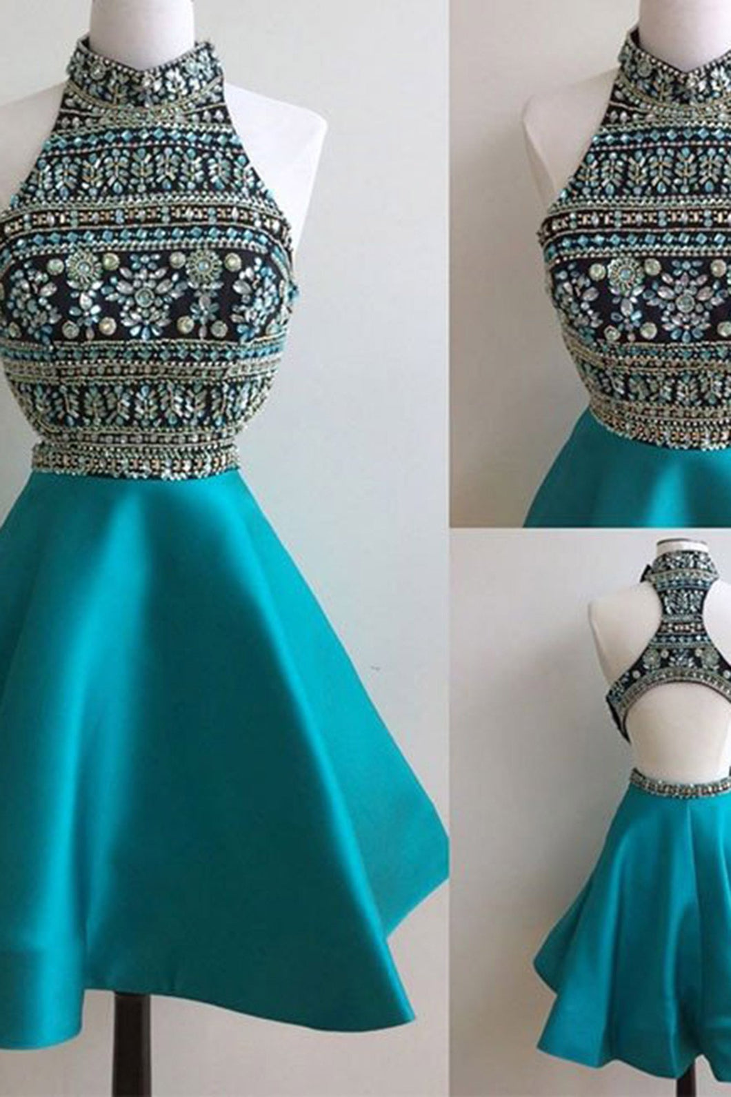 2019 Prom Dresses | Blue satins beading sequins halter A-line short prom dresses for teens,cute dresses