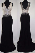 Load image into Gallery viewer, 2018 evening gowns - Luxury black chiffon sequins rhinestone V-neck long evening dresses,formal dress