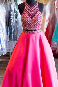 2018 evening gowns - Hot pink chiffon two pieces O-neck see-through A-line long dresses,formal dresses for teens