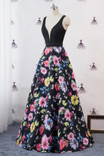 Load image into Gallery viewer, 2019 Prom Dresses | Black Satin Floral Skirt V Neck Beaded Waistline Long Mermaid Evening Dress, Prom Dress