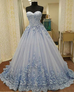 Sweet 16 Dresses | 2018 spring sweetheart blue tulle long sweet 16 prom dress with 3D flower appliques