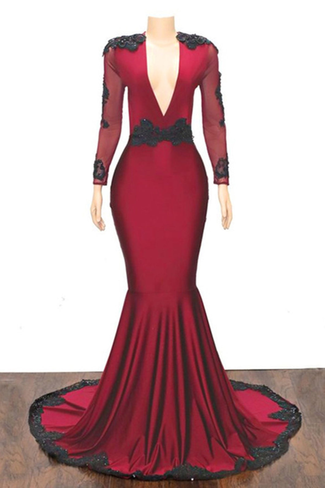2019 Prom Dresses | Burgundy V Neck Long Mermaid Evening Dress, Prom Dress With Sleeve