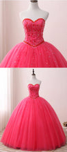 Load image into Gallery viewer, 2019 Prom Dresses | 2019 Hot Pink Tulle Quinceanera Dress for Teens,  Beaded Long Prom Dress